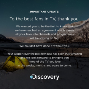 discovery twitter notice