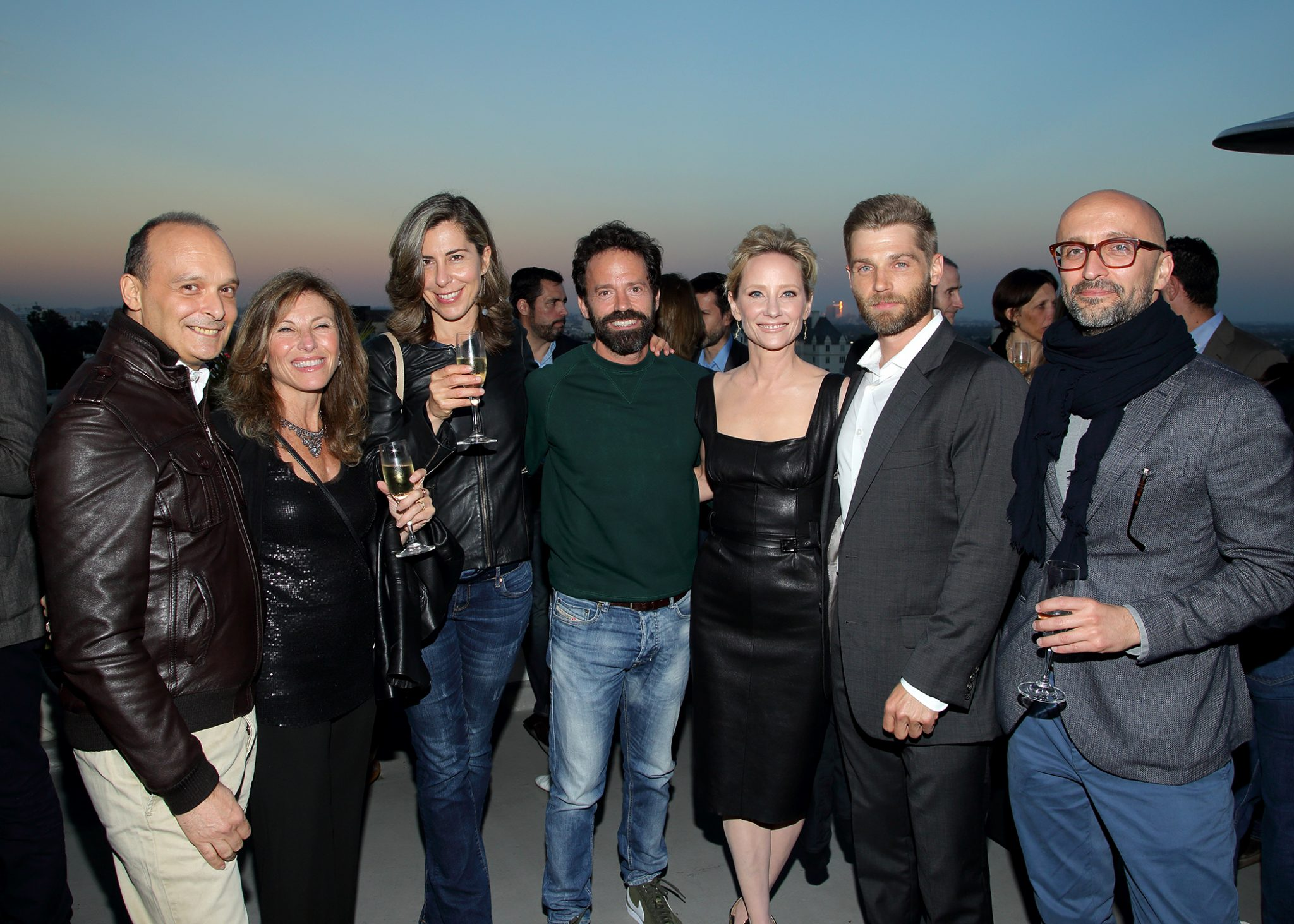 Anne Heche and Mike Vogel (The Brave) mingle with international TV buyers at NBCU's LA Screenings cocktail at the Chateau Marmont on Tuesday, May 23. (Greg Grudt/Mathew Imaging)