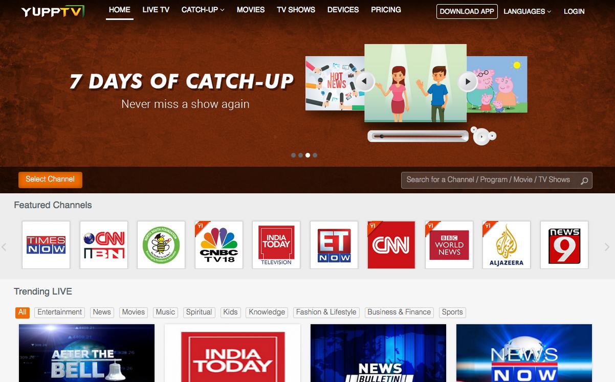 YuppTV homepage