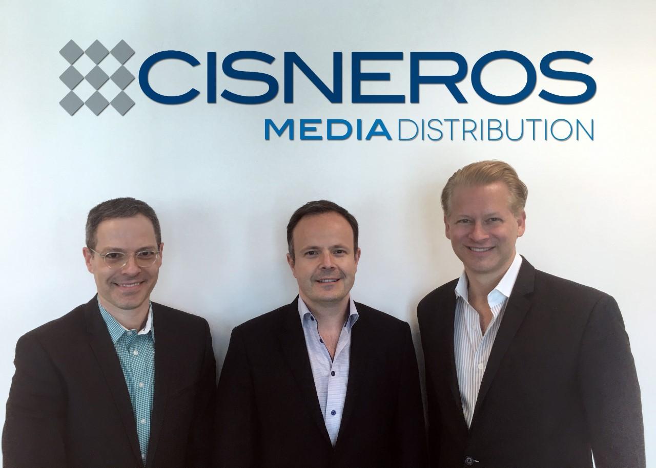 (L-R) Jonathan Blum, Cisneros Media; Marcel Vinay, Jr., Comarex; Marcello Coltro, Cisneros Media Distribution