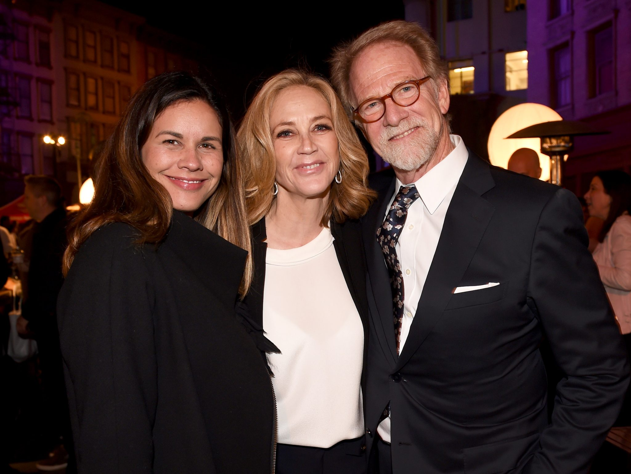 (L-R) Naomi Scott & Ally Walker (Ghosted); and 20th Century Fox Television Distribution president Mark Kaner attend the Twentieth Century Fox Television Los Angeles Screening Gala at the Fox Studio lot on May 25, 2017 (Photo by Frank Micelotta/Fox/PictureGroup)