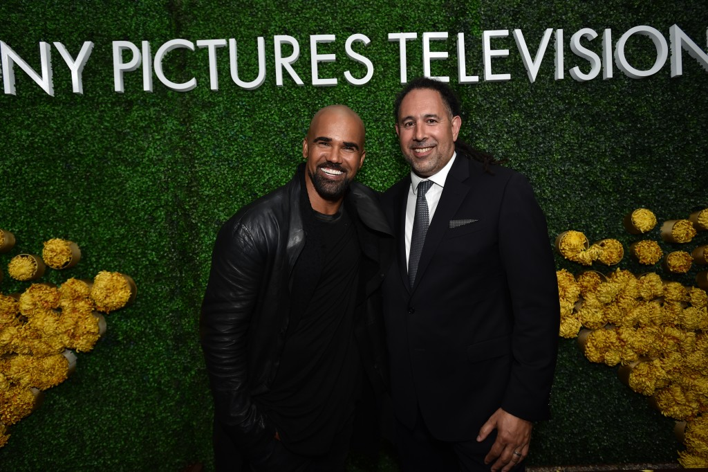 Shemar Moore (S.W.A.T.) & Keith Le Goy, Sony president of international distribution, at the Sony party